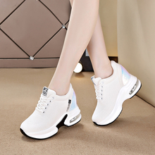 Dumoo Summer/Autumn White Sneakers Shoes Women High Heel 8cm Leisure Platform Wedges Height Increasing Shoes zapatillas mujer