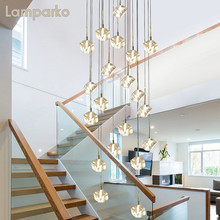 Contemporary Square Crystal Pendant Hanging Light LED Nordic Spiral Clear Crystal Suspension Lamp Art Deco Stairs Dining Table