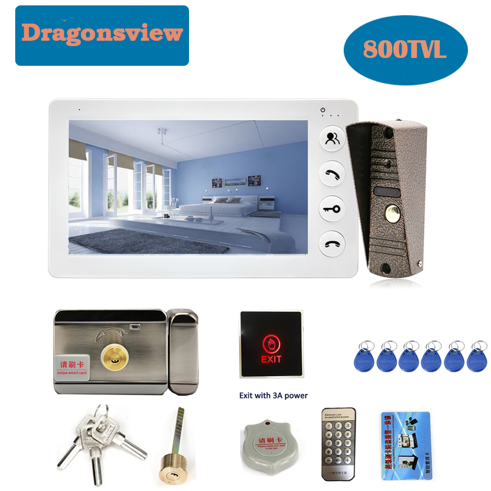 Dragonsview  Wired Video Door Phone  Doorbell Camera Intercom System 7 Inch Rainproof Unlock Electronic Lock Monitoring Talk