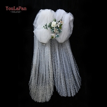 YouLaPan V10 Royal Pearl Beaded Wedding Veil Cathedral Veil Bride Luxury Photo Accessories White Ivory Wedding Veils with Comb