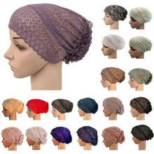 Cabeça de cobertura completa tampão interno flor laço muçulmano hijab caps cabeça islâmica usar chapéu underscarf beanie chapéus turbante indiano