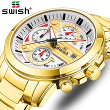 SWISH Gold Sport Watches for Men 2020 Luxury Fashion Casual Chronograph Watch Waterproof
