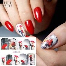 1 sztuk czerwony klon romantyczne naklejki ozdoby do paznokci Valentine Nail Art Transfer wody tatuaże porady żel do Manicure suwak BN373 384