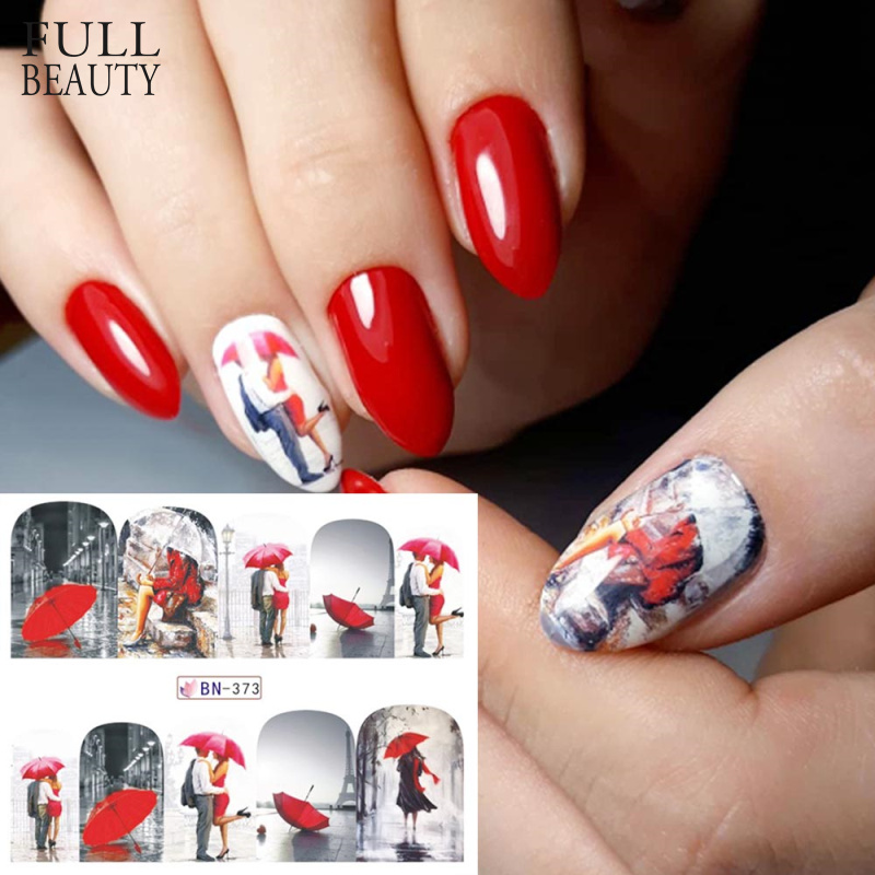 1pcs Red Maple Romantic Sticker Nail Decorations Valentine Nail Art Water Transfer Tattoos Tips Manicure Gel Slider BN373-384
