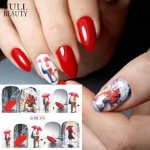 1 Pcs Red Beauty Romantis Stiker Kuku Dekorasi Valentine Nail Art Water Transfer Tato Tips Manikur Gel Slider BN373-384(China)