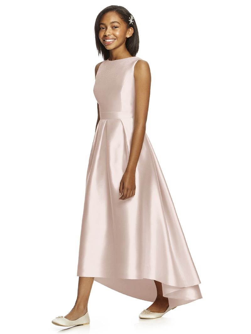 Elegant Cheap Junior Bridesmaid Dresses Under 18 High Low Scoop Floor  Length Satin Long Wedding Party Dresses
