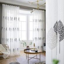Tende trasparenti per soggiorno tende in Voile di Tulle ricamate con foglie grigie per tende da camera da letto