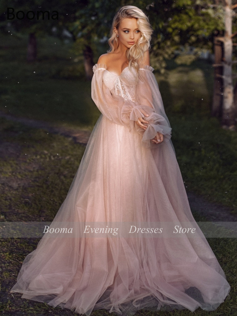 Sweet Dusty Pink Prom Dresses 2021 Off Shoulder Long Sleeves Princess Party Dresses Crumpled Tulle A-Line Formal Evening Gowns 5