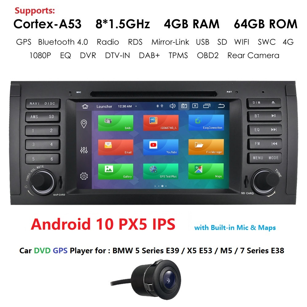 <font><b>7</b></font> INCH Android 10 4GB RAM 64GB ROM PX5 8 CORE Car DVD PLAYER For BMW X5 E53 E39 GPS stereo audio navigation multimedia with RDS image