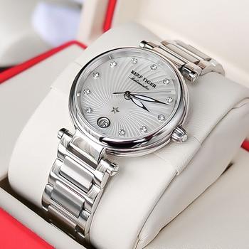 2021 New Reef Tiger/RT Top Brand Luxury Fashion Watches Women Stainless Steel Diamond Automatic Wristwatch reloj mujer RGA1590