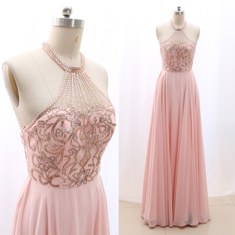 MACloth Pink Sheath Halter Floor-Length Long Crystal Tulle Prom Dresses Dress S 268524 Clearance