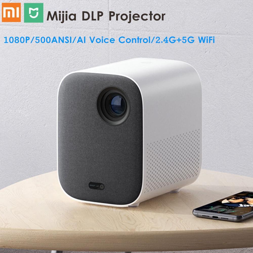 Xiaomi Mijia DLP Projetor Full HD 1080P Controle Remoto Voz AI 2GB DDR3 8GB eMMC 500ANSI 2.4G/G Wi-fi BT 3D 5 LEVOU Projetor