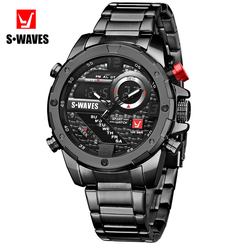 SWAVES Dual Display Watch Men Clock Luxury Waterproof Watches Mens 2019 Quartz Fashion Stainless Steel Sport Army Reloj Hombre