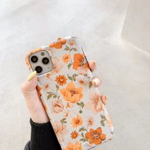 Cute Retro Colorful Flower Phone Case For iphone 11 11Pro Max XR XS Max X 7 8 Plus Leaves floral Matte Soft IMD Back Cover(China)