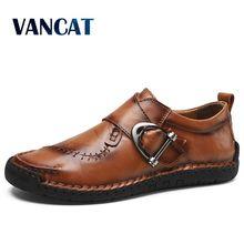새로운 고품질 분할 가죽 남성 신발 수제 남성 로퍼 비 슬립 플랫 편안한 드레스 신발 캐주얼 신발 빅 사이즈 48