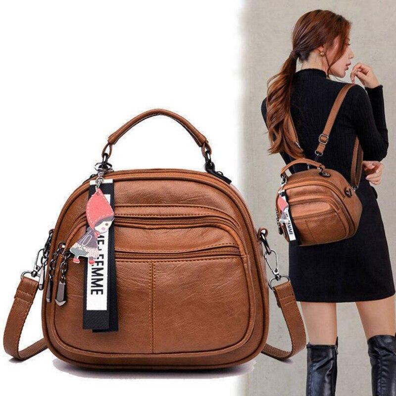 Women's New Multifunctional Travel Backpack High Quality Leather Mini Ladies Backpack Mochila Female Student Shoulder School Bag