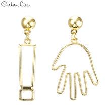 CARTER LISA Trend Abstract Art Drop Earrings Gold Color Hand Palm Dangle Girls Fashion Statement kolczyki