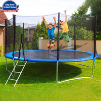 12 Ft Kids Trampoline Set With Enclosure Net Jumping Mat And Spring Cover Padding Outdoor Garden Sport Trampoline Toys Game Jy6