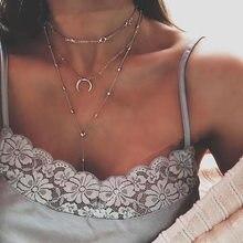 Colar boêmio feminino, corrente circular de lua multicamadas cor prata com pingente