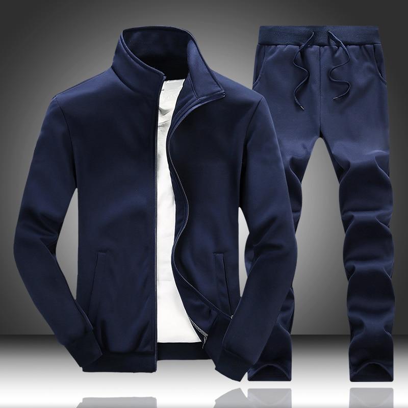 Cardigan 2020 Spring Autumn New Men's Set Man Sportswear 2 Piece Sets Sports Suit Jacket+Sweatpants Sweatsuit Male Tracksuit