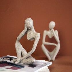 Abstrato pensador estátua criativo desktop diy decoração mão esculpida estátuas de arenito decoração para casa accessorie escultura decorativa