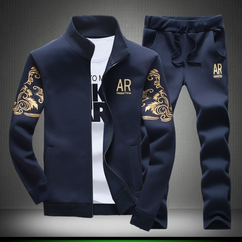 Mens Tracksuit Hoodie Set Two Pieces Autumn Sporting Track Suit Male Stand Collar Print Sweatshirts 2pcs Jacket+Pants Sportswear