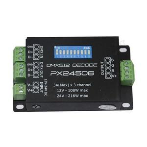 PX24506 DC12V-24V DMX512 3CH декодер драйвер RGB Усилитель контроллер для 5050 3528 RGB светодиодный светильник