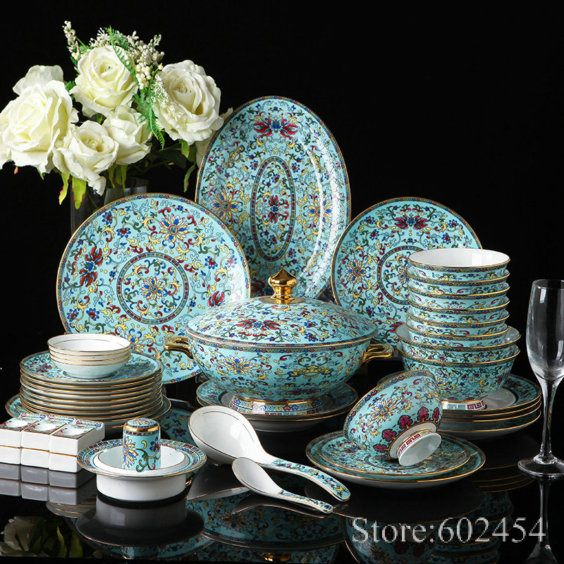 Luxurious Enamel colored porcelain dinnerware set Blue Chinese Imitation Old style Colorful Flower Porcelain Plate sets|Dinnerware Sets| |  - title=