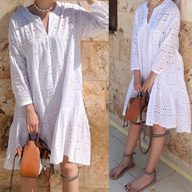 Celmia Women Elegant White Embroidery Knee Dress 2019 Autumn Sexy V Neck Hollow Out Dress Female Long Sleeve Party Vestido S-5XL