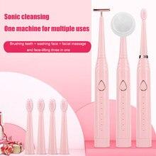 3 en 1 brosse à dents électrique à ultrasons 5 Modes Massage du visage brosse de lavage brosse à dents étanche avec ensemble de brosses pour le visage
