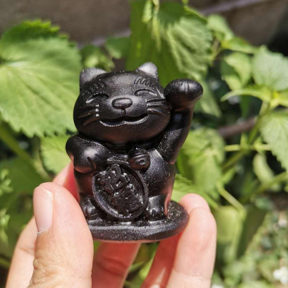 Natural Black obsidian Lucky Cat Carved Rock crystal Fortune Cat Statue for Fortune Money and Good Luck