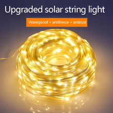 50/100/200 LED Solar Light Outdoor Leather thread String Lights Holiday Christmas Party Waterproof Fairy Light Garden Garland