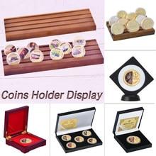 6 estilos colecionáveis moedas titular exibição desafio medalha moeda caso coletor de mesa decoração presente para homem