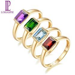 LP szmaragd rosyjski Chrome Diopside 1.05cts pierścionek zaręczynowy w kształcie obrączki dla kobiet prawdziwe 9K 10K 14K 18K złota biżuterii