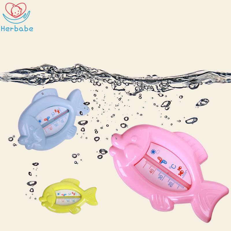 Herbabe Cartoon Baby Water Thermometer Floating Fish Kids Bath Thermometer Toy Plastic Tub Household Water Sensor Thermometer