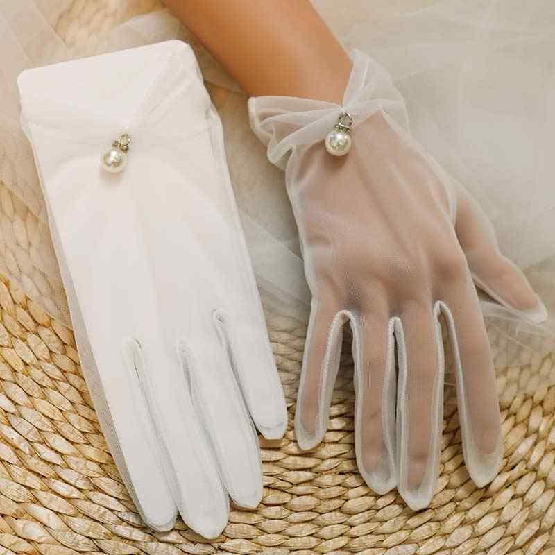 קצר כלה חתונה כפפות בז 'עיצוב קצר תחרה גזה שקוף נשים כפפות 2018 UV הוכחה קיץ נשים רשת דייגים כפפה r5