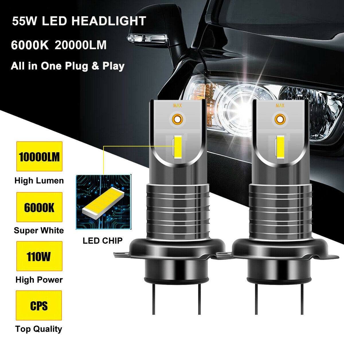 1 Pair <font><b>H7</b></font> 110W 5050 CSP <font><b>LED</b></font> Headlight Bulb Lamp <font><b>20000LM</b></font> <font><b>6000K</b></font> Waterproof 9V-32V image