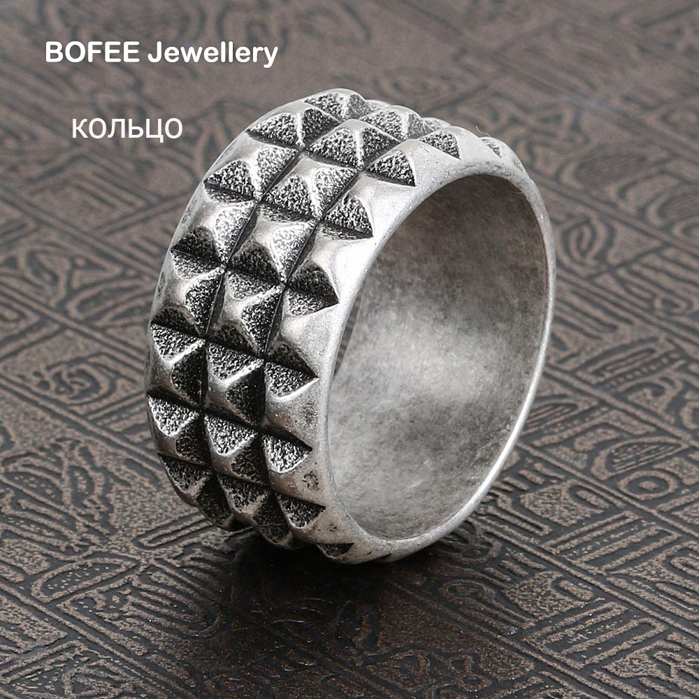 BOFEE Punk Men Ring Stainless Steel Classical Finger Rings Biker Gothic Fashion Vintage Metal  Jewelry Bague Gift Party Unisex