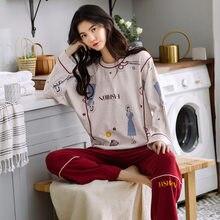Pijama terno feminino outono puro algodão calças de manga comprida outono e inverno em torno do pescoço pulôver médio-grosso casual casa wear
