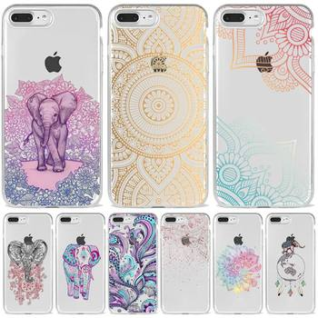 Mandala kolor kwiat słoń etui na telefon przezroczysty miękki dla iphone 5 6 7 8 11 12 s c se plus mini x xs xr pro max okładka powłoki tanie i dobre opinie LeoScott APPLE CN (pochodzenie) Częściowo przysłonięte etui Zwykły przezroczyste W stylu rysunkowym Anime Cartoon Pink Original Aesthetic Plain