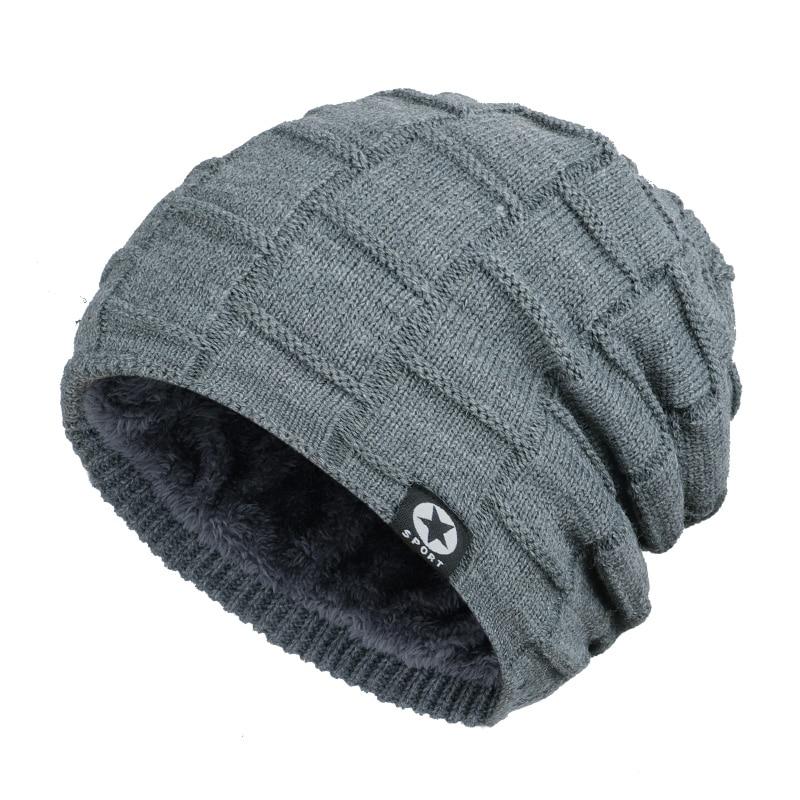 Зимняя мужская шапка с пятизвездочными звездами, шарф плюс бархатная мужская вязаная шапка, Теплая Лыжная маска, маска, головной платок, шапка, высококачественный хлопковый нагрудник, модная новинка - Цвет: Gray-2
