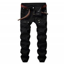 Mcik Fas Здравствуйте на для мужчин's рваные джинсы брюки для девочек Тонкий прямые джинсовые Здравствуйте-street джинсовые тренировочные штаны