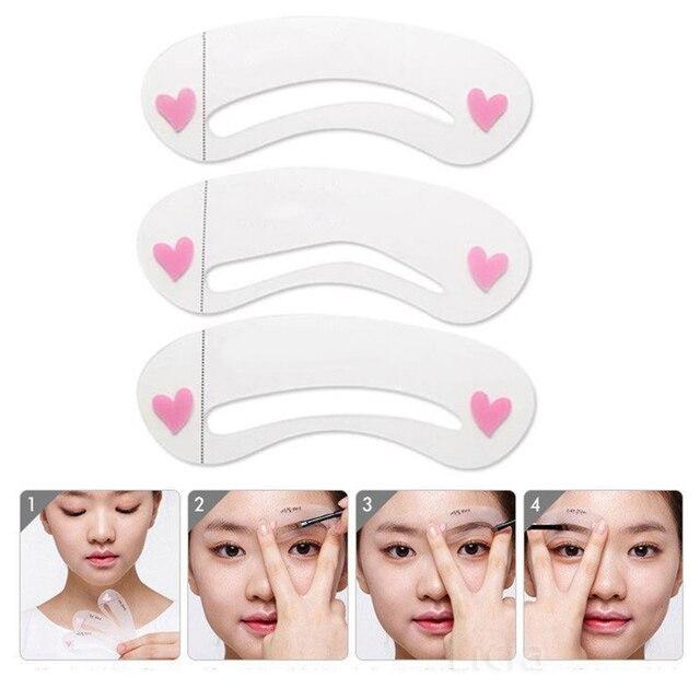 3Pcs Reusable Lady Shaping DIY Pen Makeup Set Assistant Template Makeup Stencil Waterproof Eyebrow Pencil Eye Brow Card Tool 1