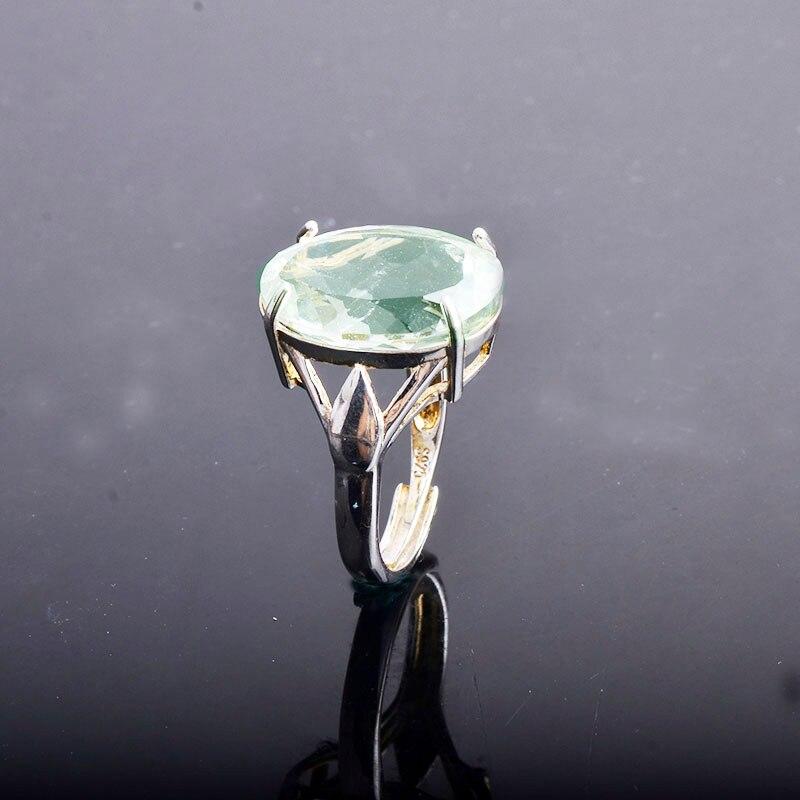 Image 2 - CSJ большой камень 13ct кольцо с зеленым аметистом овальной  огранки 13*18 стерлингового серебра 925 натуральный драгоценный камень  хорошее ювелирное изделие для женщин Девушка подарочная коробкаКольца