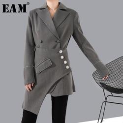 [EAM] Loose Fit Gray Rhinestone Asymmetrical Stitch Jacket New Lapel Long Sleeve Women Coat Fashion Tide Spring 2020 1R74102