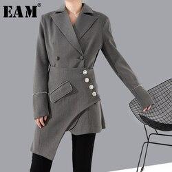 [EAM] Lose Fit Grau Strass Asymmetrische Stich Jacke Neue Revers Lange Hülse Frauen Mantel Mode Flut Frühjahr 2020 1R74102