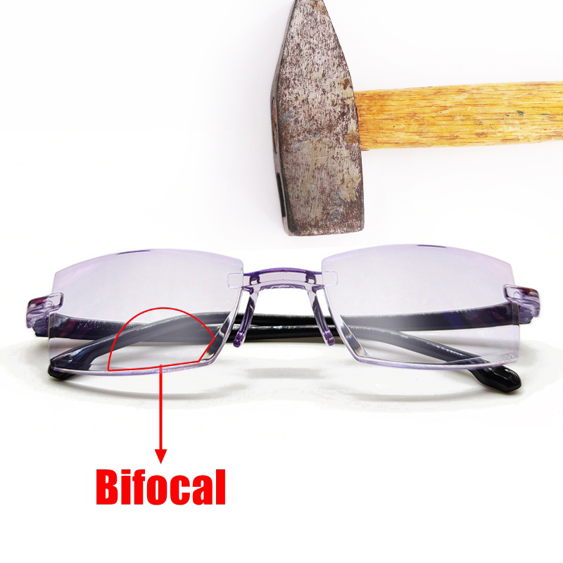 Men Women Rimless Reading Glasses Bifocal Far Near Anti Blue Light Magnification Eyewear Presbyopic Glasses Diopter +150 TR90