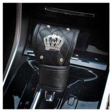 Bling автомобильный чехол переключения передач стразы из искусственной кожи Корона Декор Автомобильные аксессуары чехол для рычага переключения передач