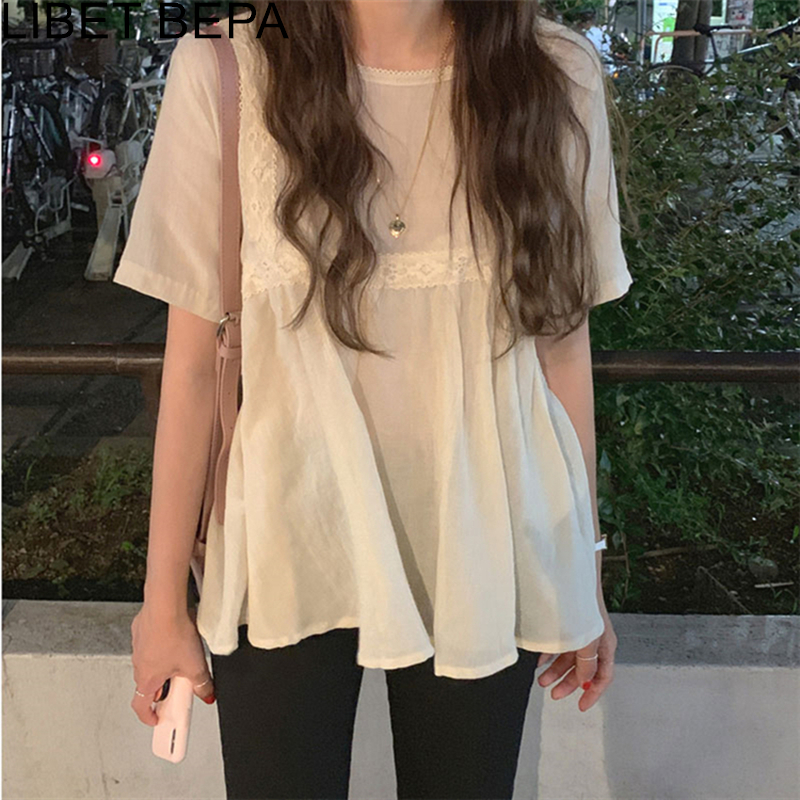 New 2020 Spring Summer Women's Blouse Casual Fashionable Shirt Elegant Korean Style Loose Lace Up Pleated Sweet Lady Tops BL3009