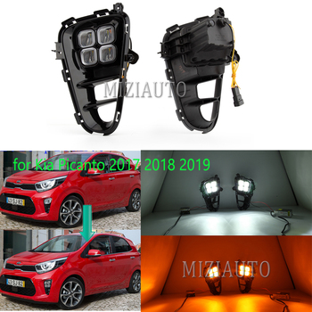 2Pcs DRL LED Fog Lights Lamp for Kia Picanto 2017 2018 2019 Daytime Running Light Front BumperFog Light Assembly Day Light beler 2pcs 9 led front fog light lamp drl daytime running driving lights for infiniti g37 jx35 nissan altima maxima maxima rogue